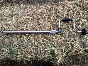 Example of a hand cranked hay probe used for taking samples.